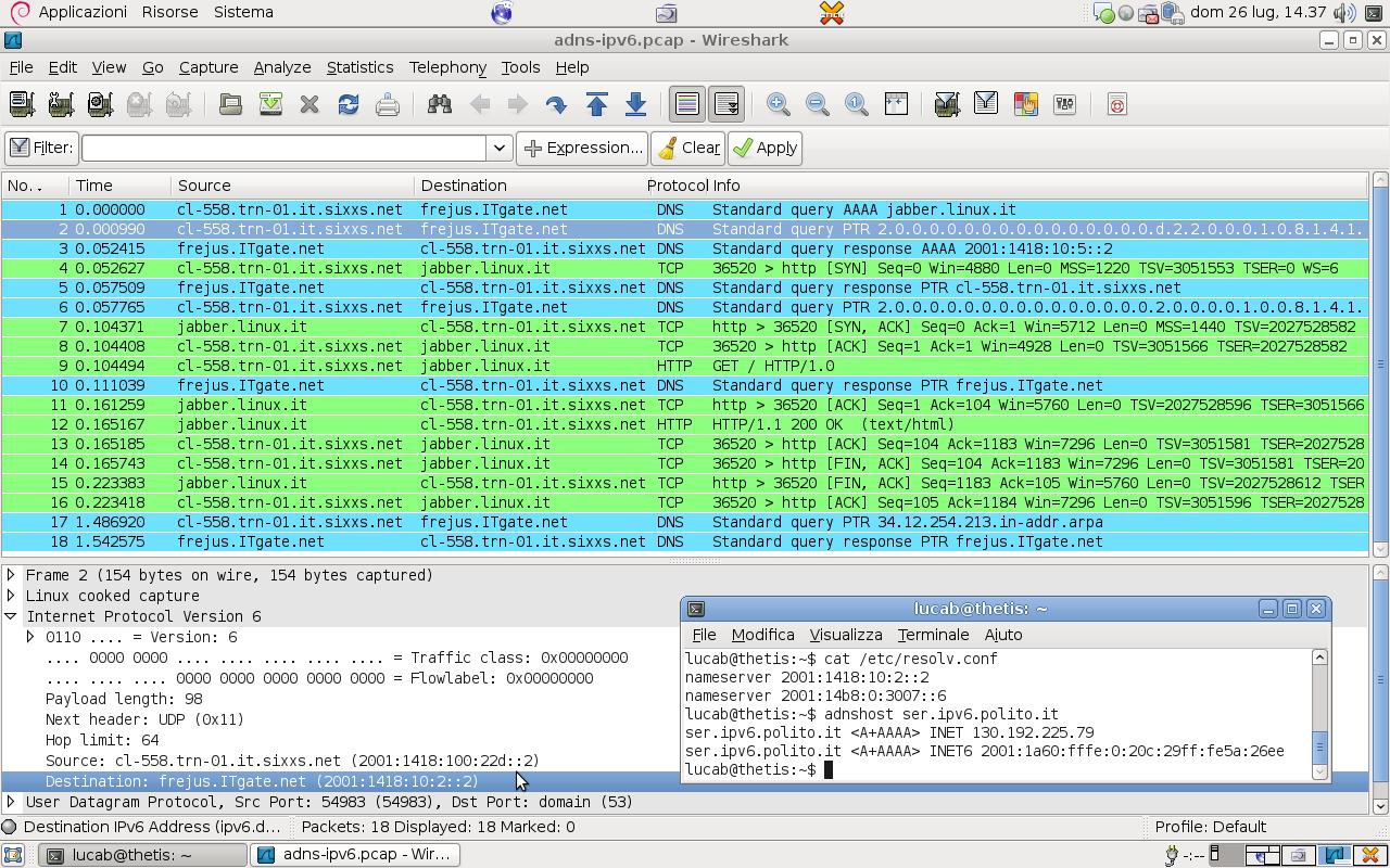 Wireshark IPv6 DNS support (via libadns) – Aquì estamos!