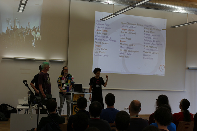 Picture of the  reproducible builds  talk during DebConf15