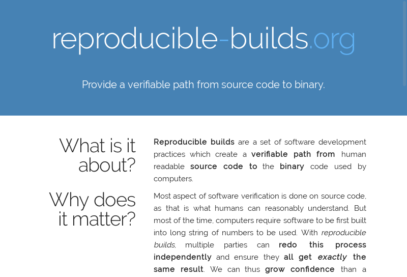 Homepage of the future reproducible-builds.org website