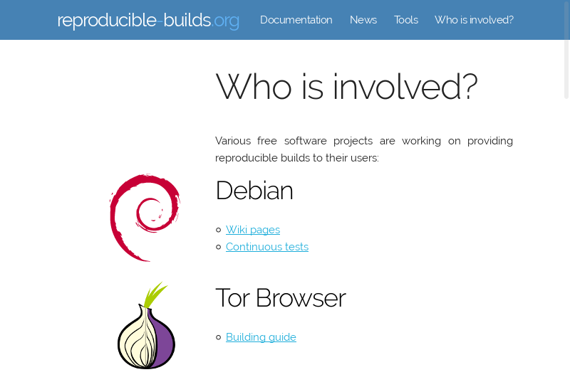 Who's involved?  page of the future reproducible-builds.org website