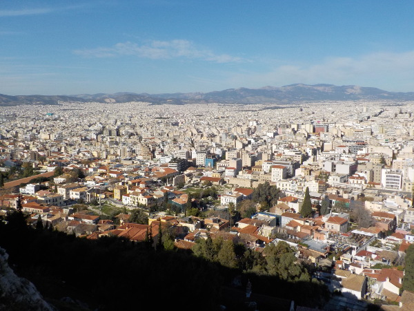 North of Athens from the Acropolis with ImpactHub in the center