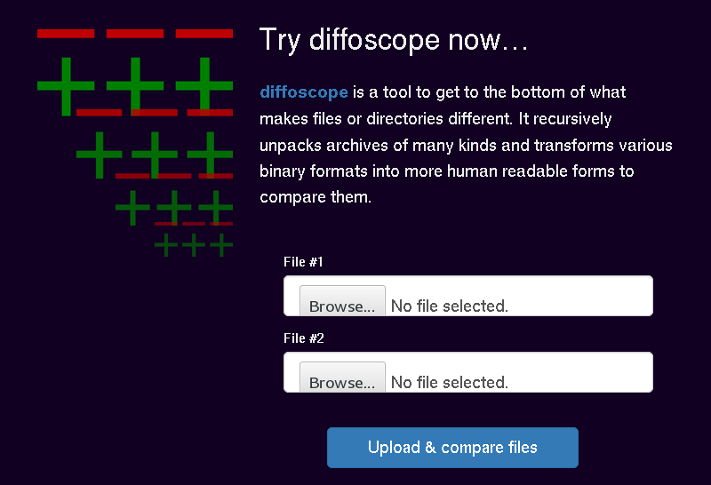 Screenshot of try.diffoscope.org